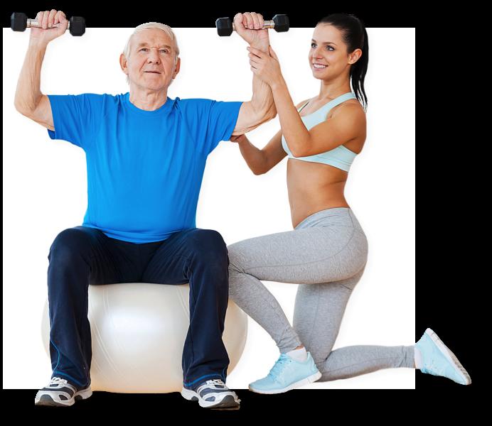 a woman assiting a senior man exercising